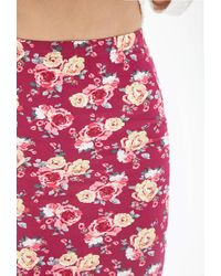 Forever 21 - Pink Clustered Rose Pencil Skirt - Lyst