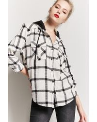 Forever 21 - Black Hooded Check Flannel Shirt - Lyst