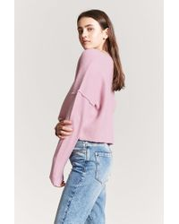 Forever 21 - Pink V-neck Crop Sweater - Lyst