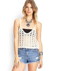 Forever 21 - Natural Open-knit Crop Top - Lyst