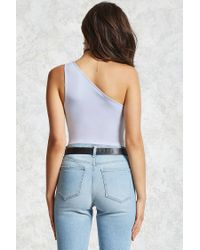 Forever 21 - Gray One-shoulder Bodysuit - Lyst
