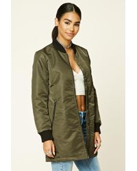 Forever 21 - Green Padded Bomber Coat - Lyst