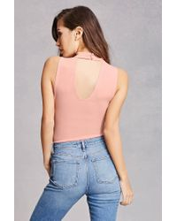Forever 21 - Pink Floral Cutout Bodysuit - Lyst