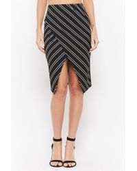 Forever 21 - Black Striped Split-front Pencil Skirt - Lyst