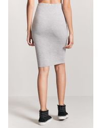 Forever 21 - Gray Stretch-knit Pencil Skirt - Lyst