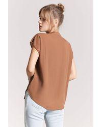 Forever 21 - Brown Mandarin-collar Woven Top - Lyst