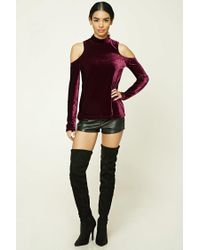 Forever 21 - Purple Velvet Open-shoulder Top - Lyst