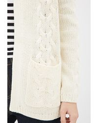 Forever 21 - White Cable Knit Cardigan - Lyst