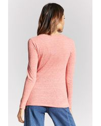 Forever 21 - Pink Classic V-neck Top - Lyst