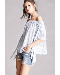 e86a3c15696b6c Lyst - Forever 21 Striped Off-the-shoulder Top in Blue