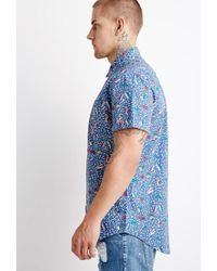 Forever 21 - Blue 's Geo Abstract Print Shirt for Men - Lyst