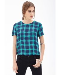 Forever 21 - Blue Boxy Plaid Top - Lyst