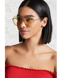 Forever 21 - Metallic Round Aviator Sunglasses - Lyst