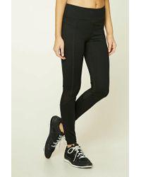 Forever 21 Black Active Mesh-paneled Leggings