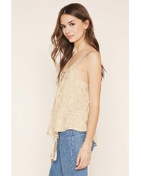 Forever 21 - Natural Contemporary Lace-up Top - Lyst