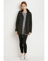 Forever 21 - Black Hooded Utility Jacket - Lyst