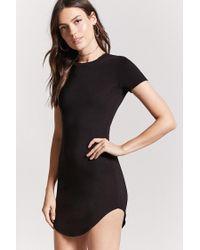 Forever 21 Black Curved Hem T-shirt Dress