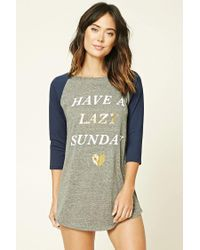e79a60ed9a Forever 21 Have A Lazy Sunday Nightdress in Gray - Lyst