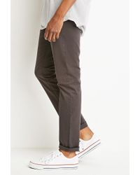 Forever 21 - Gray Classic Twill Pants for Men - Lyst