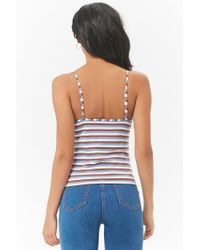 Forever 21 - Blue Striped Caged Cami - Lyst