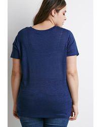 Forever 21 | Blue Plus Size Classic V-neck Tee | Lyst