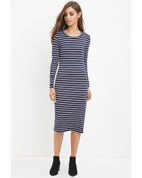Forever 21 - Blue Striped Midi Dress - Lyst
