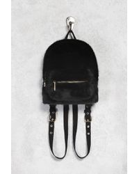Forever 21 | Black Faux Fur Mini Backpack | Lyst