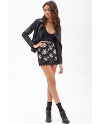 Forever 21 - Natural Lace-trimmed Floral Skirt - Lyst