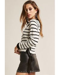 Forever 21 Black Stripe Lace-up Sweater