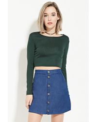 Forever 21 - Green Ribbed Knit Crop Top - Lyst