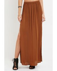 Forever 21 - Brown Side-slit Satin Maxi Skirt - Lyst