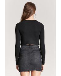 Forever 21 - Black Lace-up Crop Top - Lyst