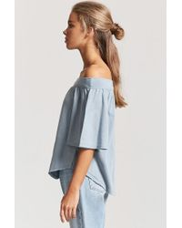 Forever 21 Blue French Terry Off-the-shoulder Top