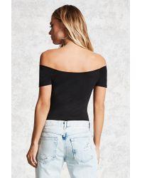 Forever 21 - Black Off-the-shoulder Bodysuit - Lyst