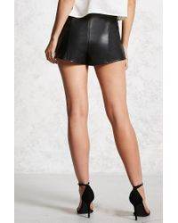 Forever 21 | Black Faux Leather Tulip Hem Shorts | Lyst