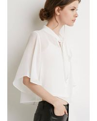 Forever 21 - White Contemporary Self-tie Neck Cropped Blouse - Lyst