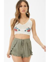 Forever 21 - Green Ruffle Trim Tulip Shorts - Lyst