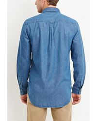 Forever 21 - Blue Two-pocket Denim Shirt for Men - Lyst