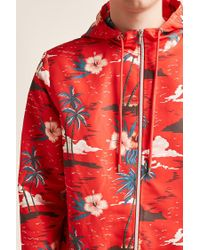 Forever 21 - Red 's Hooded Tropical Floral Windbreaker Jacket for Men - Lyst