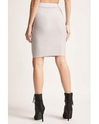 Forever 21 - Gray Metallic Bodycon Skirt - Lyst