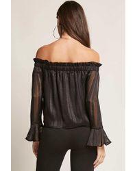 Forever 21 - Black Off-the-shoulder Shadow Stripe Top - Lyst