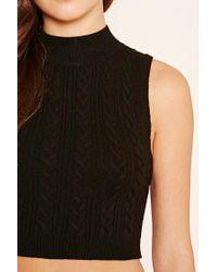 Forever 21 | Black Mock Neck Knit Crop Top | Lyst
