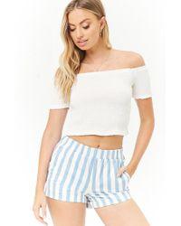 Forever 21 - Blue Denim Striped Cuffed Shorts - Lyst