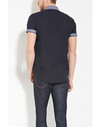 Forever 21 - Blue Chambray Collar Shirt for Men - Lyst