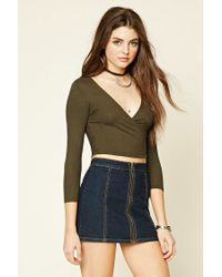Forever 21 - Green Women's Ribbed Surplice Crop Top - Lyst