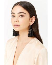 Forever 21 - Black Tassel Chandelier Earrings - Lyst