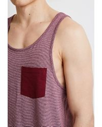 Forever 21 - Purple Micro-striped Pocket Tank for Men - Lyst