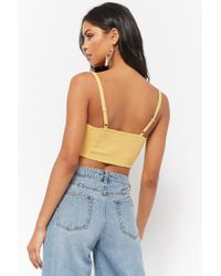Forever 21 - Blue Tie-front Crop Top - Lyst