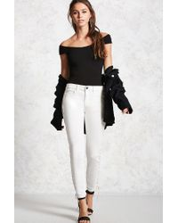 Forever 21 - Black Ribbed Bardot Top - Lyst