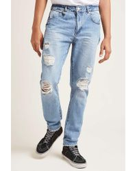 Forever 21 - Blue Destroyed Straight-leg Jeans for Men - Lyst